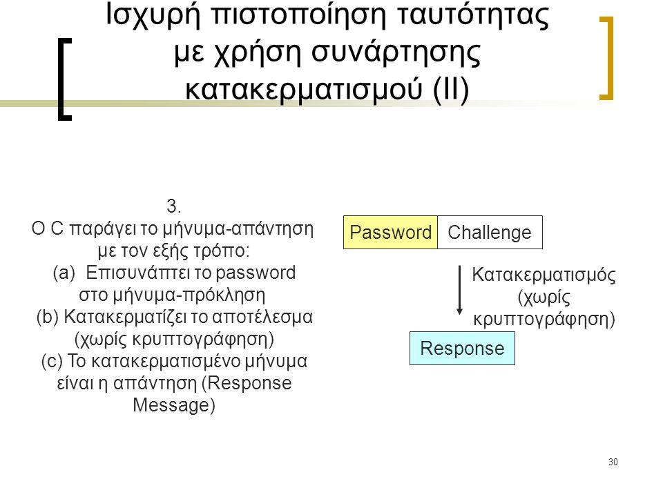 30 3. Ο C παράγει το μήνυμα-απάντηση με τον εξής τρόπο: (a)Επισυνάπτει το password στο μήνυμα-πρόκληση (b) Κατακερματίζει το αποτέλεσμα (χωρίς κρυπτογ
