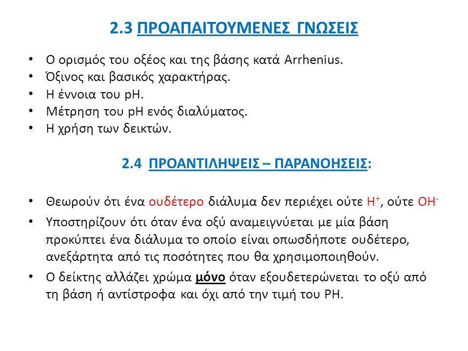 2.3 ΠΡΟΑΠΑΙΤΟΥΜΕΝΕΣ ΓΝΩΣΕΙΣ Ο ορισμός του οξέος και της βάσης κατά Arrhenius.