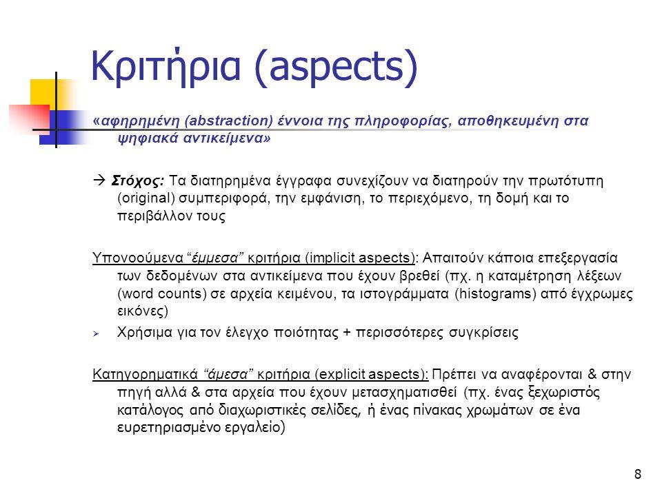 8 Κριτήρια (aspects) «αφηρημένη (abstraction) έννοια της πληροφορίας, αποθηκευμένη στα ψηφιακά αντικείμενα»  Στόχος: Tα διατηρημένα έγγραφα συνεχίζου
