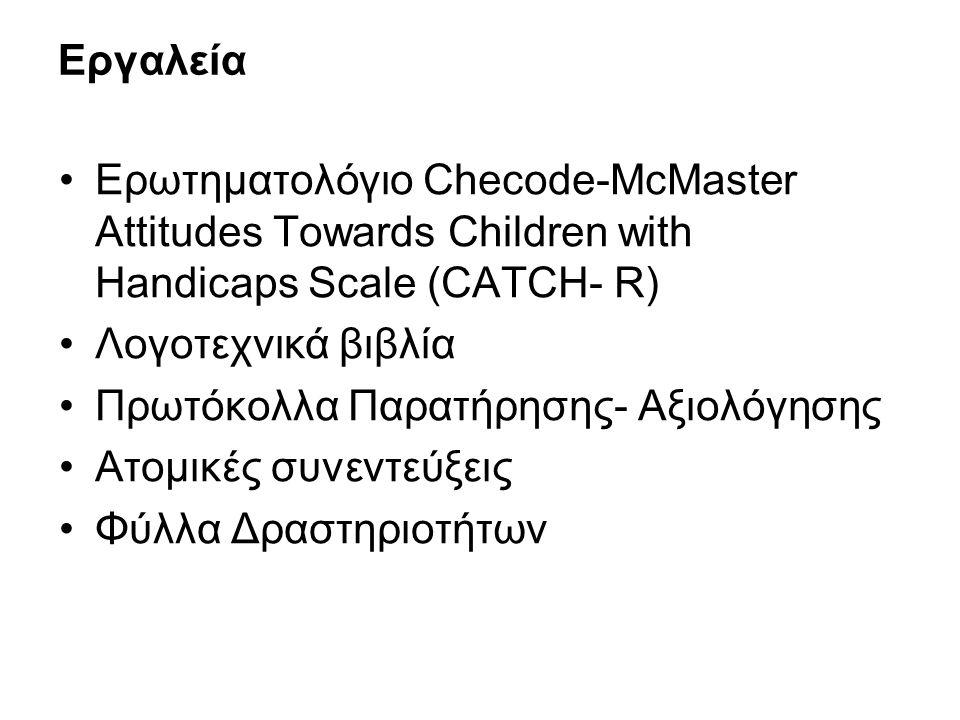 Εργαλεία Ερωτηματολόγιο Checode-McMaster Attitudes Towards Children with Handicaps Scale (CATCH- R) Λογοτεχνικά βιβλία Πρωτόκολλα Παρατήρησης- Αξιολόγησης Ατομικές συνεντεύξεις Φύλλα Δραστηριοτήτων