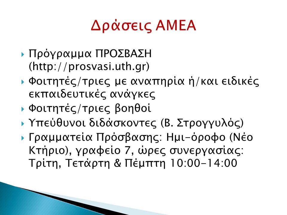 Πρόγραμμα ΠΡΟΣΒΑΣΗ (http://prosvasi.uth.gr)  Φοιτητές/τριες με αναπηρία ή/και ειδικές εκπαιδευτικές ανάγκες  Φοιτητές/τριες βοηθοί  Υπεύθυνοι διδάσκοντες (Β.