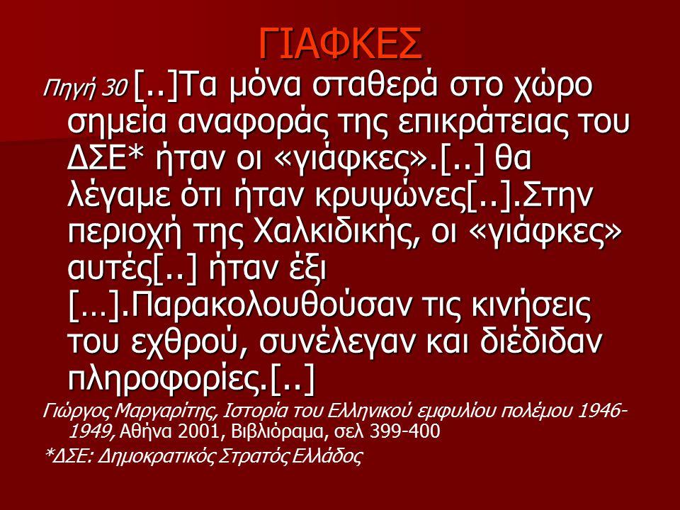 ΓΙΑΦΚΕΣ Πηγή 30 [..]Τα μόνα σταθερά στο χώρο σημεία αναφοράς της επικράτειας του ΔΣΕ* ήταν οι «γιάφκες».[..] θα λέγαμε ότι ήταν κρυψώνες[..].Στην περι