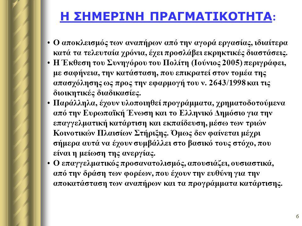 17 Στάδια επαγγελματικής αποκατάστασης Α Στάδιο:Κατάρτιση & Επανακατάρτιση 1.- Ε.Ε.Ε.Ε.Κ 2.- Κ.Ε.Κ Β Στάδιο: Αναζήτηση εργασίας και σύνδεση με την αγορά εργασίας 1) Ο.Α.Ε.Δ (Ανεργία, Προγρ/τα, Επιδοτήσεις) 2) Δήμοι και Δημόσιες Υπηρεσίες 3) Προγράμματα επιχειρηματικότητας (ελεύθεροι επαγγελματίες) 4) Ιδιωτικές Επιχειρήσεις (υπάλληλοι)