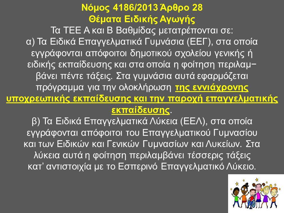 Νόμος 4186/2013 Άρθρο 28 Θέματα Ειδικής Αγωγής Τα ΤΕΕ Α και Β Βαθμίδας μετατρέπονται σε: α) Τα Ειδικά Επαγγελματικά Γυμνάσια (ΕΕΓ), στα οποία εγγράφον