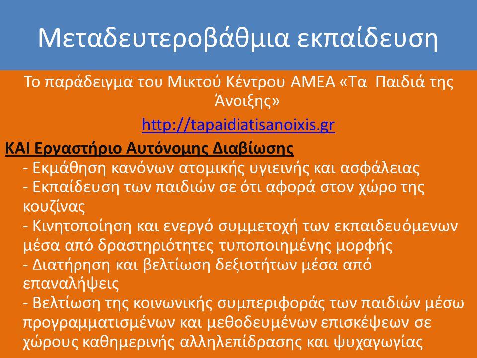 Μεταδευτεροβάθμια εκπαίδευση Το παράδειγμα του Μικτού Κέντρου ΑΜΕΑ «Τα Παιδιά της Άνοιξης» http://tapaidiatisanoixis.gr ΚΑΙ Eργαστήριο Αυτόνομης Διαβί