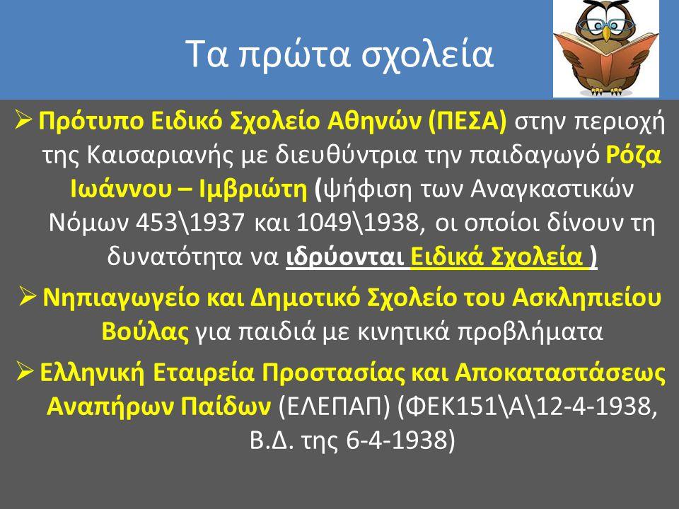 Τα πρώτα σχολεία  Πρότυπο Ειδικό Σχολείο Αθηνών (ΠΕΣΑ) στην περιοχή της Καισαριανής με διευθύντρια την παιδαγωγό Ρόζα Ιωάννου – Ιμβριώτη (ψήφιση των