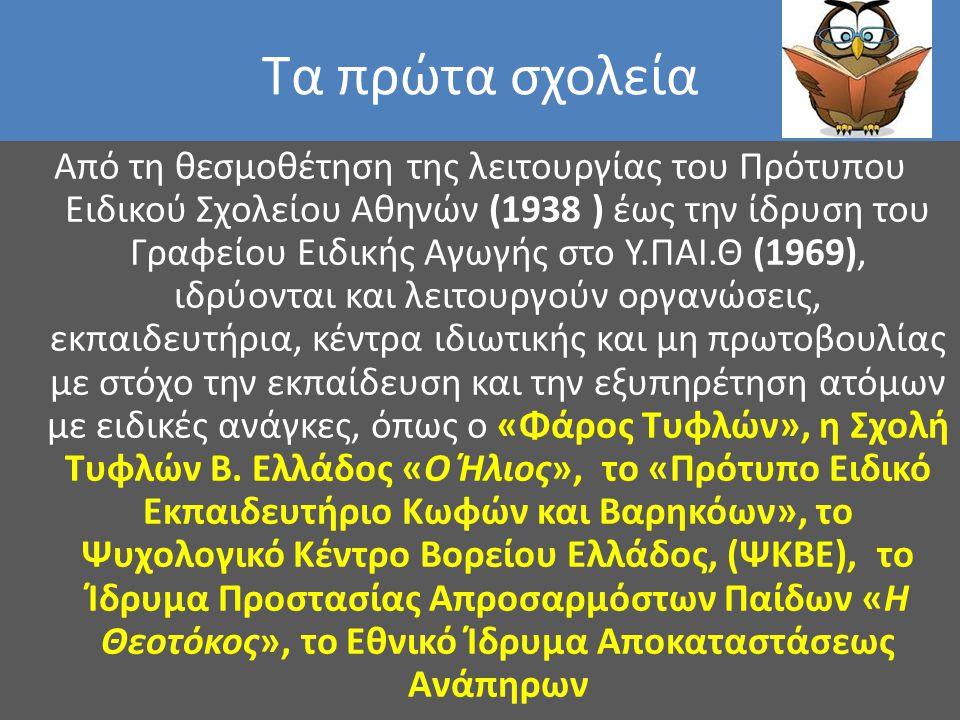 Τα πρώτα σχολεία Από τη θεσμοθέτηση της λειτουργίας του Πρότυπου Ειδικού Σχολείου Αθηνών (1938 ) έως την ίδρυση του Γραφείου Ειδικής Αγωγής στο Υ.ΠΑΙ.