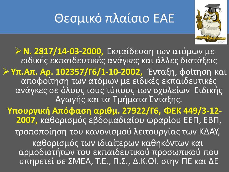 Θεσμικό πλαίσιο ΕΑΕ  N. 2817/14-03-2000, Εκπαίδευση των ατόμων με ειδικές εκπαιδευτικές ανάγκες και άλλες διατάξεις  Υπ.Απ. Αρ. 102357/Γ6/1-10-2002,