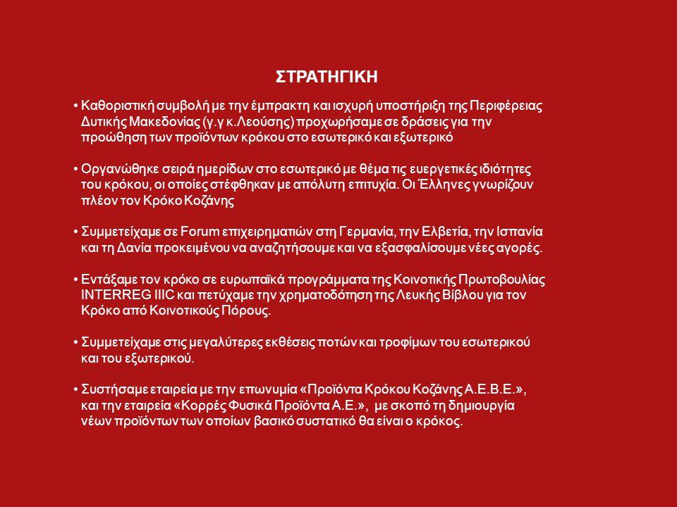 Καθοριστική συμβολή με την έμπρακτη και ισχυρή υποστήριξη της Περιφέρειας Δυτικής Μακεδονίας (γ.γ κ.Λεούσης) προχωρήσαμε σε δράσεις για την προώθηση των προϊόντων κρόκου στο εσωτερικό και εξωτερικό Οργανώθηκε σειρά ημερίδων στο εσωτερικό με θέμα τις ευεργετικές ιδιότητες του κρόκου, οι οποίες στέφθηκαν με απόλυτη επιτυχία.