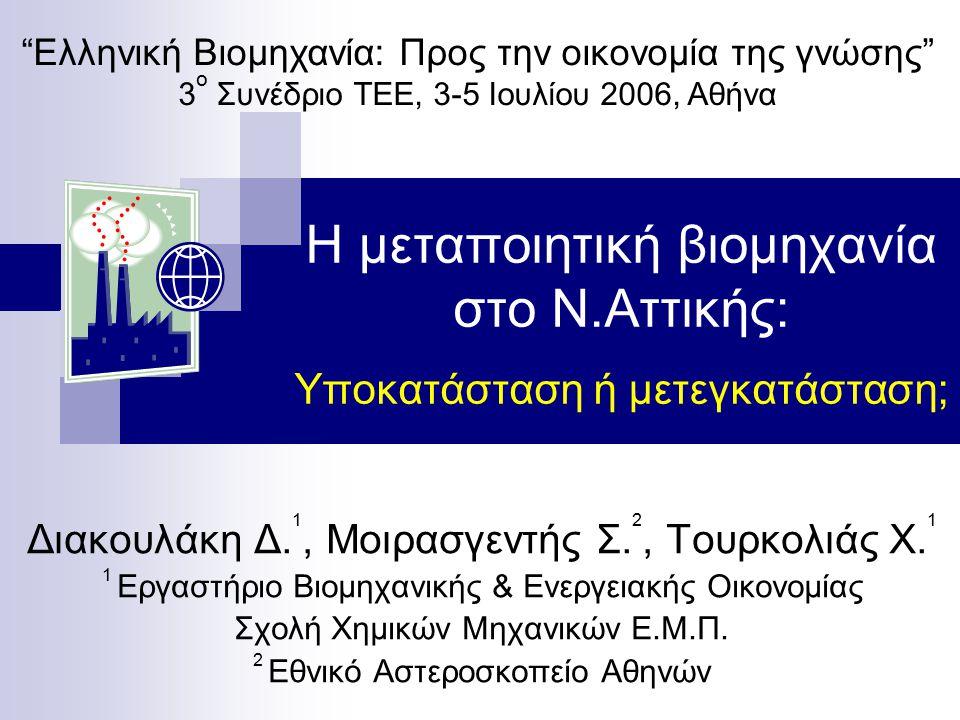 Η μεταποιητική βιομηχανία στο Ν.Αττικής: Υποκατάσταση ή μετεγκατάσταση; Διακουλάκη Δ.