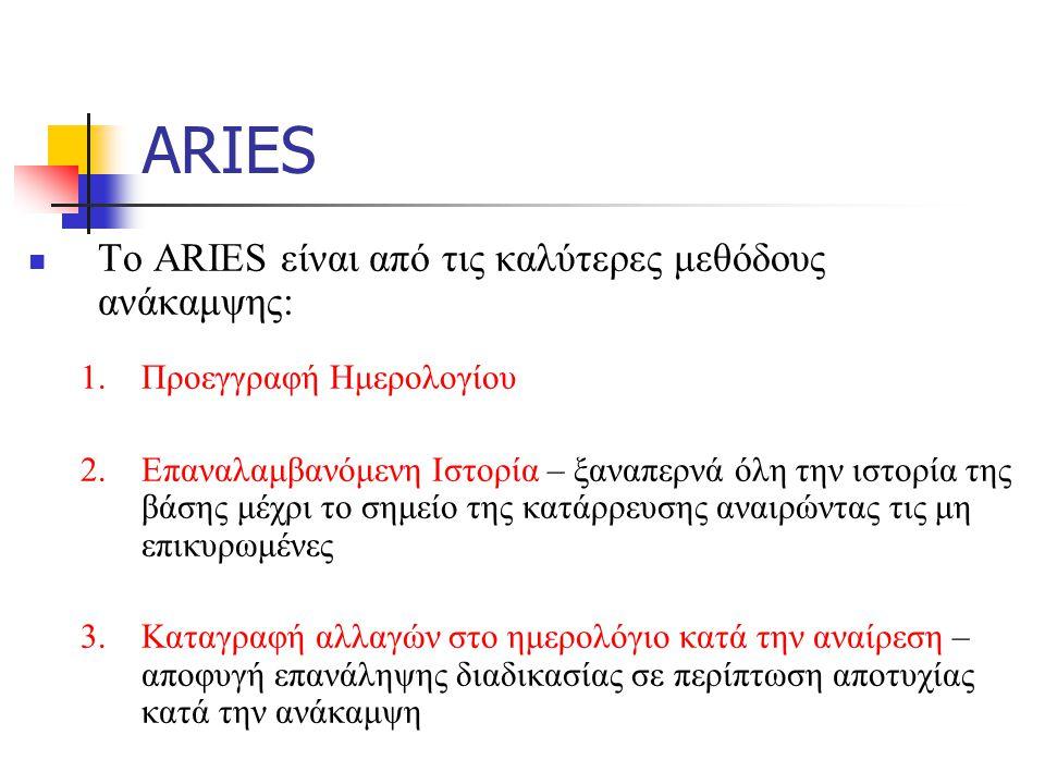 ARIES Το ARIES είναι από τις καλύτερες μεθόδους ανάκαμψης: 1.Προεγγραφή Ημερολογίου 2.Επαναλαμβανόμενη Ιστορία – ξαναπερνά όλη την ιστορία της βάσης μέχρι το σημείο της κατάρρευσης αναιρώντας τις μη επικυρωμένες 3.Καταγραφή αλλαγών στο ημερολόγιο κατά την αναίρεση – αποφυγή επανάληψης διαδικασίας σε περίπτωση αποτυχίας κατά την ανάκαμψη