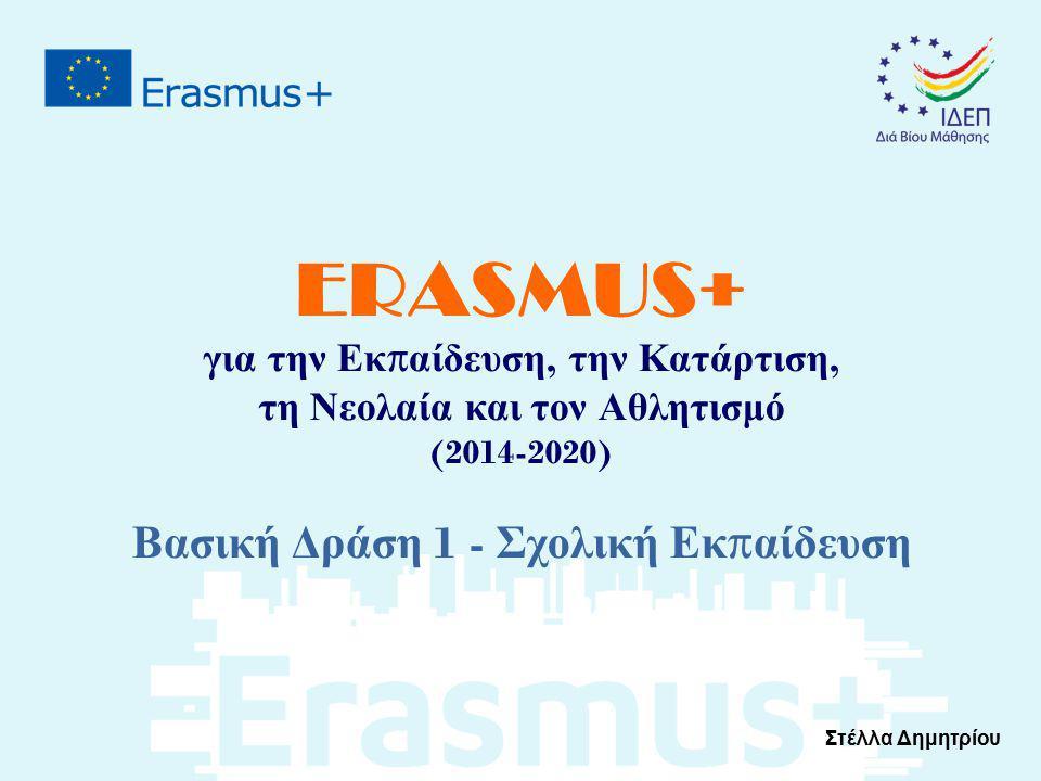 ERASMUS+ για την Εκ π αίδευση, την Κατάρτιση, τη Νεολαία και τον Αθλητισμό (2014-2020) Βασική Δράση 1 - Σχολική Εκ π αίδευση Στέλλα Δημητρίου