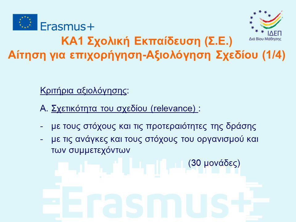 ΚΑ1 Σχολική Εκπαίδευση (Σ.Ε.) Αίτηση για επιχορήγηση-Αξιολόγηση Σχεδίου (1/4) Κριτήρια αξιολόγησης: Α. Σχετικότητα του σχεδίου (relevance) : -με τους