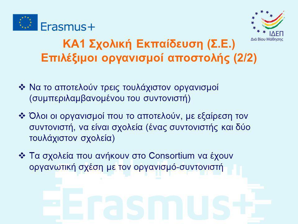 ΚΑ1 Σχολική Εκπαίδευση (Σ.Ε.) Επιλέξιμοι οργανισμοί αποστολής (2/2)  Να το αποτελούν τρεις τουλάχιστον οργανισμοί (συμπεριλαμβανομένου του συντονιστή