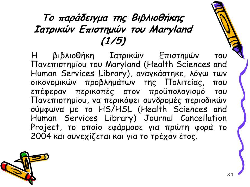 34 Το παράδειγμα της Βιβλιοθήκης Ιατρικών Επιστημών του Maryland (1/5) Η βιβλιοθήκη Ιατρικών Επιστημών του Πανεπιστημίου του Maryland (Health Sciences