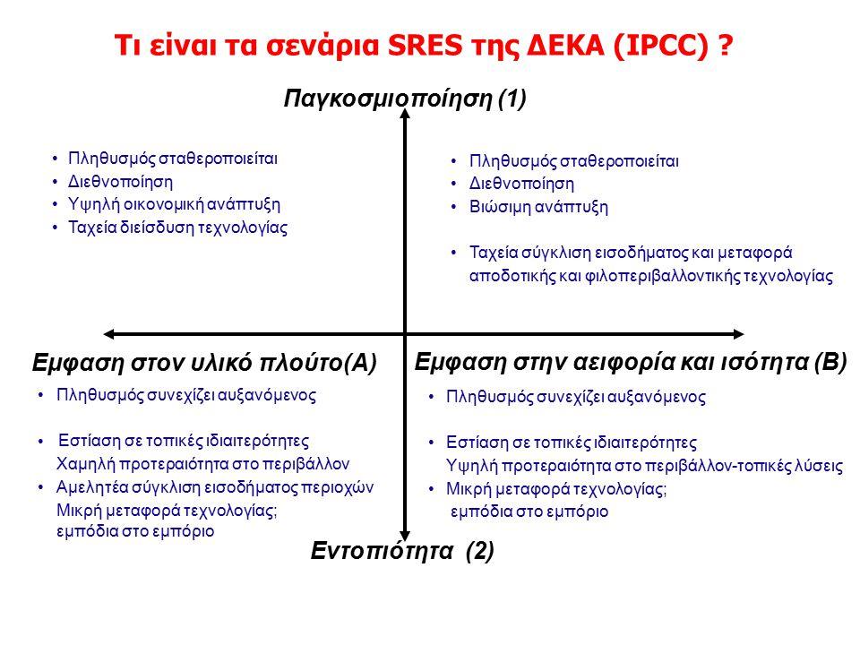 A1 Balanced A1 Fossil A1 Technology Τι είναι τα σενάρια SRES της ΔΕΚΑ (IPCC) ? Εμφαση στην αειφορία και ισότητα (Β) Εμφαση στον υλικό πλούτο(Α) Παγκοσ