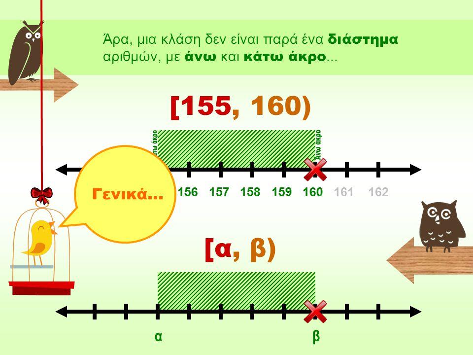 Επειδή, όμως, εμείς οι μαθηματικοί είμαστε άνθρωποι που δε μας αρέσουν τα πολλά λόγια (ειδικά αν χρειάζεται να τα επαναλαμβάνουμε ξανά και ξανά), έχουμε αντικαταστήσει την προηγούμενη έκφραση με τον παρακάτω συμβολισμό: Από το 155Έως το 160 [155, 160) διαβάζεται «κλειστό» και σημαίνει ότι το 155 περιλαμβάνεται στην κλάση.