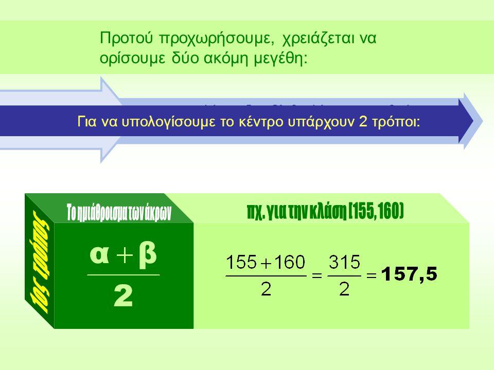 ...μιας κλάσης [α, β) θα λέμε τη διαφορά: Προτού προχωρήσουμε, χρειάζεται να ορίσουμε δύο ακόμη μεγέθη: Με άλλα λόγια, πλάτος είναι η απόσταση των αριθμών, που αποτελούν τα άκρα μιας κλάσης.