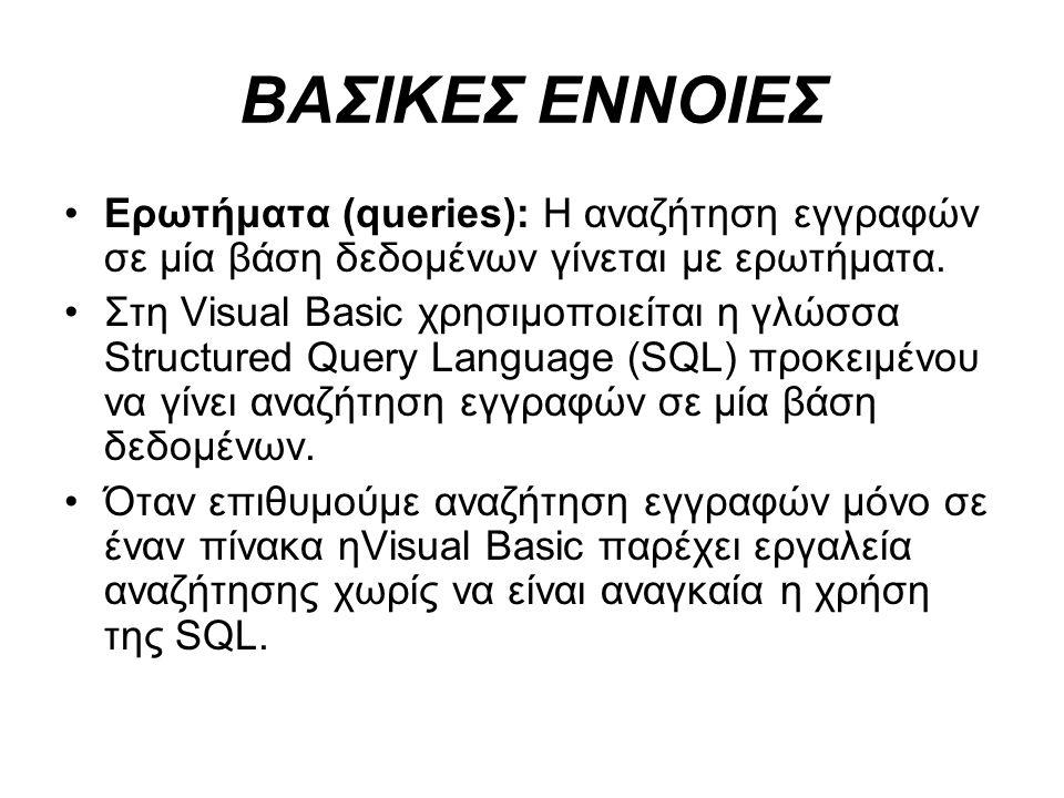 ΒΑΣΙΚΕΣ ΕΝΝΟΙΕΣ Ερωτήματα (queries): Η αναζήτηση εγγραφών σε μία βάση δεδομένων γίνεται με ερωτήματα. Στη Visual Basic χρησιμοποιείται η γλώσσα Struct