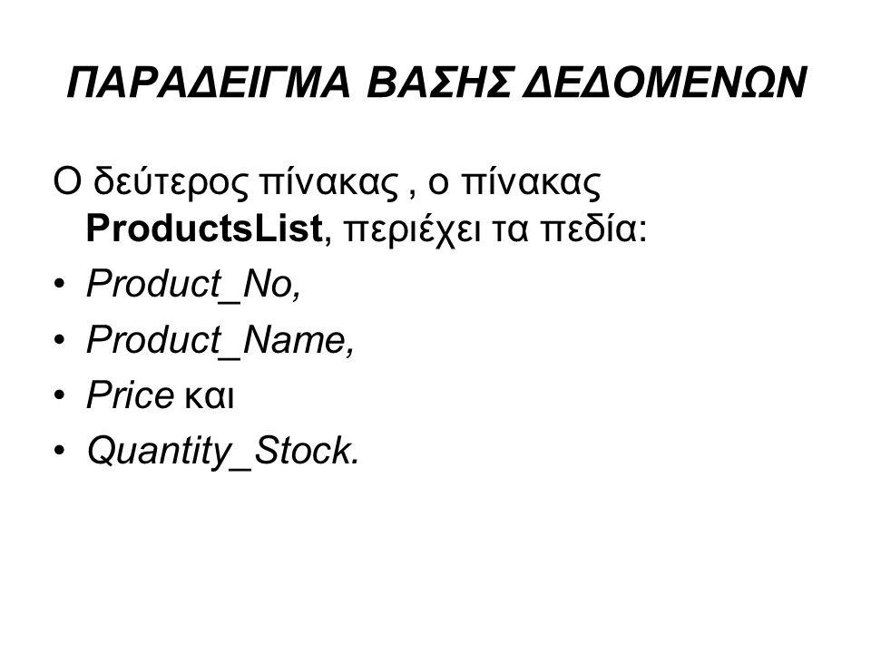 ΠΑΡΑΔΕΙΓΜΑ ΒΑΣΗΣ ΔΕΔΟΜΕΝΩΝ Ο δεύτερος πίνακας, ο πίνακας ProductsList, περιέχει τα πεδία: Product_No, Product_Name, Price και Quantity_Stock.