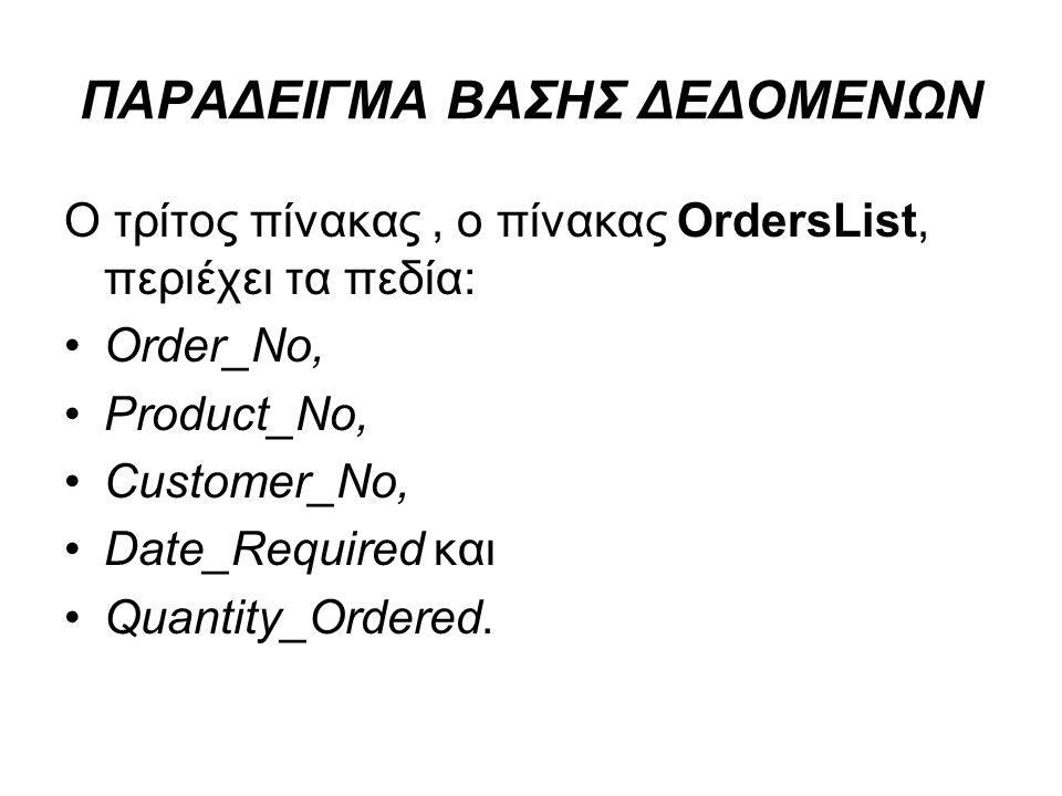 ΠΑΡΑΔΕΙΓΜΑ ΒΑΣΗΣ ΔΕΔΟΜΕΝΩΝ Ο τρίτος πίνακας, ο πίνακας OrdersList, περιέχει τα πεδία: Order_No, Product_No, Customer_No, Date_Required και Quantity_Or