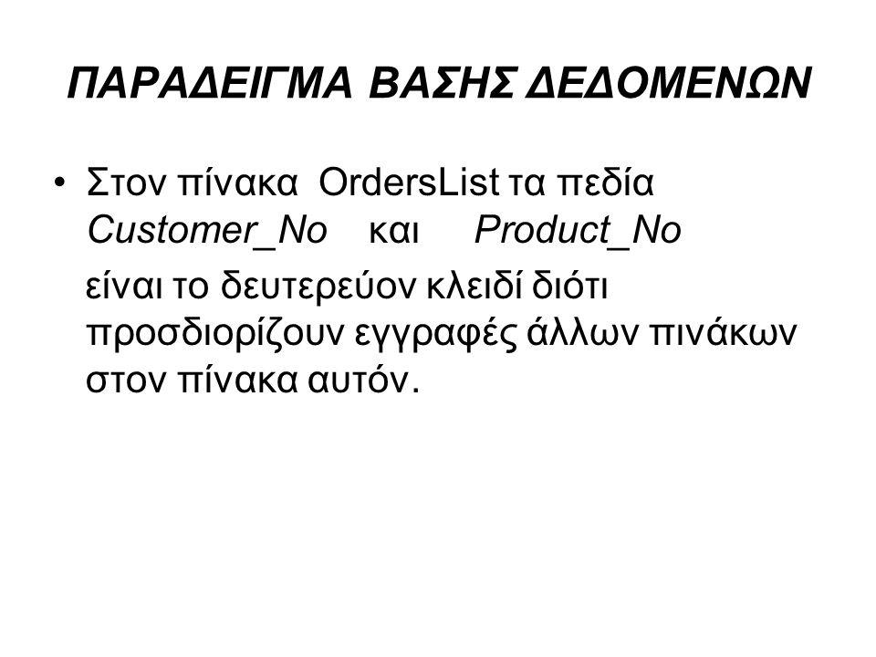 ΠΑΡΑΔΕΙΓΜΑ ΒΑΣΗΣ ΔΕΔΟΜΕΝΩΝ Στον πίνακα OrdersList τα πεδία Customer_No και Product_No είναι το δευτερεύον κλειδί διότι προσδιορίζουν εγγραφές άλλων πι