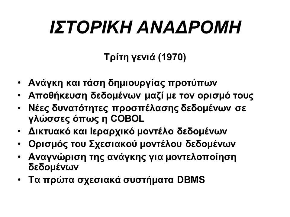 ΙΣΤΟΡΙΚΗ ΑΝΑΔΡΟΜΗ Τρίτη γενιά (1970) Ανάγκη και τάση δημιουργίας προτύπων Αποθήκευση δεδομένων μαζί με τον ορισμό τους Νέες δυνατότητες προσπέλασης δε