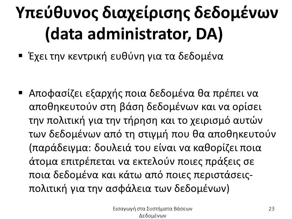 Υπεύθυνος διαχείρισης δεδομένων (data administrator, DA)  Έχει την κεντρική ευθύνη για τα δεδομένα  Αποφασίζει εξαρχής ποια δεδομένα θα πρέπει να αποθηκευτούν στη βάση δεδομένων και να ορίσει την πολιτική για την τήρηση και το χειρισμό αυτών των δεδομένων από τη στιγμή που θα αποθηκευτούν (παράδειγμα: δουλειά του είναι να καθορίζει ποια άτομα επιτρέπεται να εκτελούν ποιες πράξεις σε ποια δεδομένα και κάτω από ποιες περιστάσεις- πολιτική για την ασφάλεια των δεδομένων) Εισαγωγή στα Συστήματα Βάσεων Δεδομένων 23
