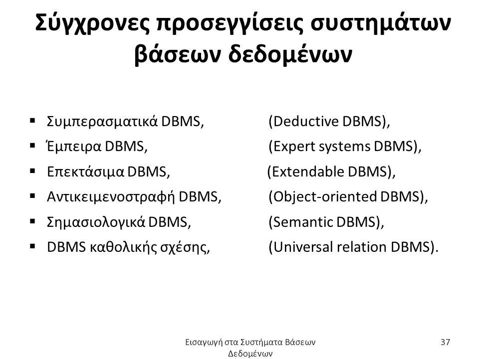 Σύγχρονες προσεγγίσεις συστημάτων βάσεων δεδομένων  Συμπερασματικά DBMS,(Deductive DBMS),  Έμπειρα DBMS,(Expert systems DBMS),  Επεκτάσιμα DBMS, (Extendable DBMS),  Αντικειμενοστραφή DBMS, (Object-oriented DBMS),  Σημασιολογικά DBMS,(Semantic DBMS),  DBMS καθολικής σχέσης,(Universal relation DBMS).