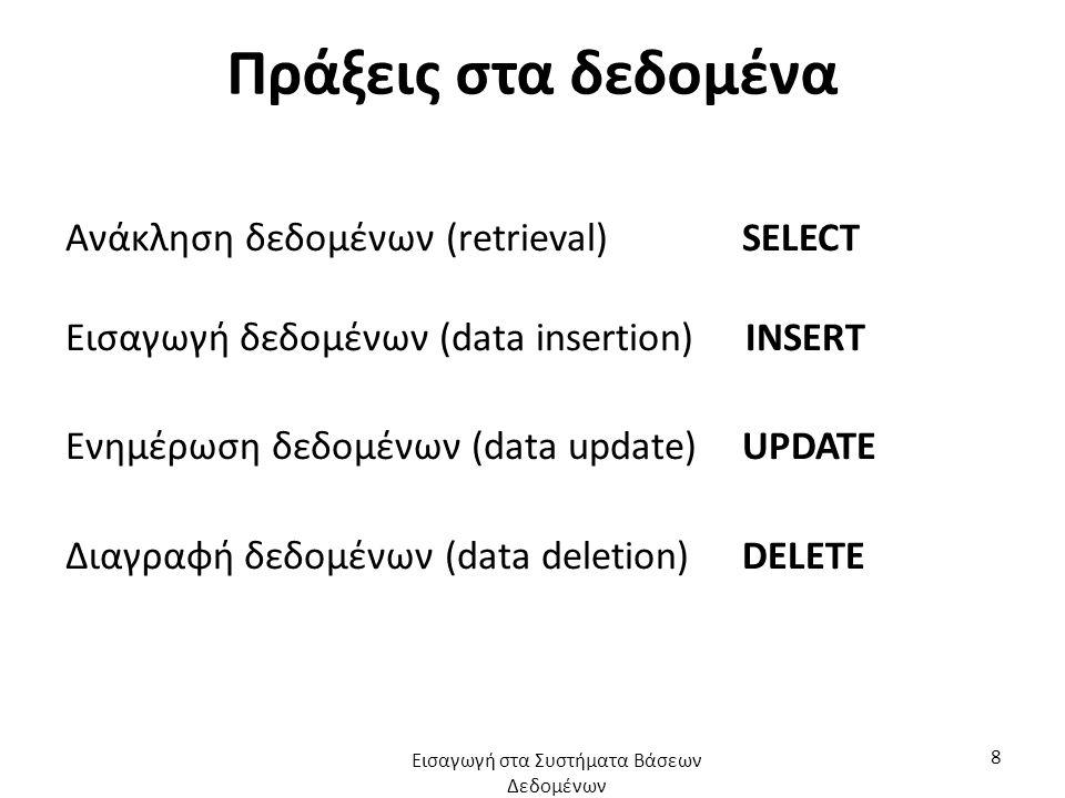 Πράξεις στα δεδομένα Ανάκληση δεδομένων (retrieval) SELECT Εισαγωγή δεδομένων (data insertion) INSERT Ενημέρωση δεδομένων (data update) UPDATE Διαγραφή δεδομένων (data deletion) DELETE Εισαγωγή στα Συστήματα Βάσεων Δεδομένων 8