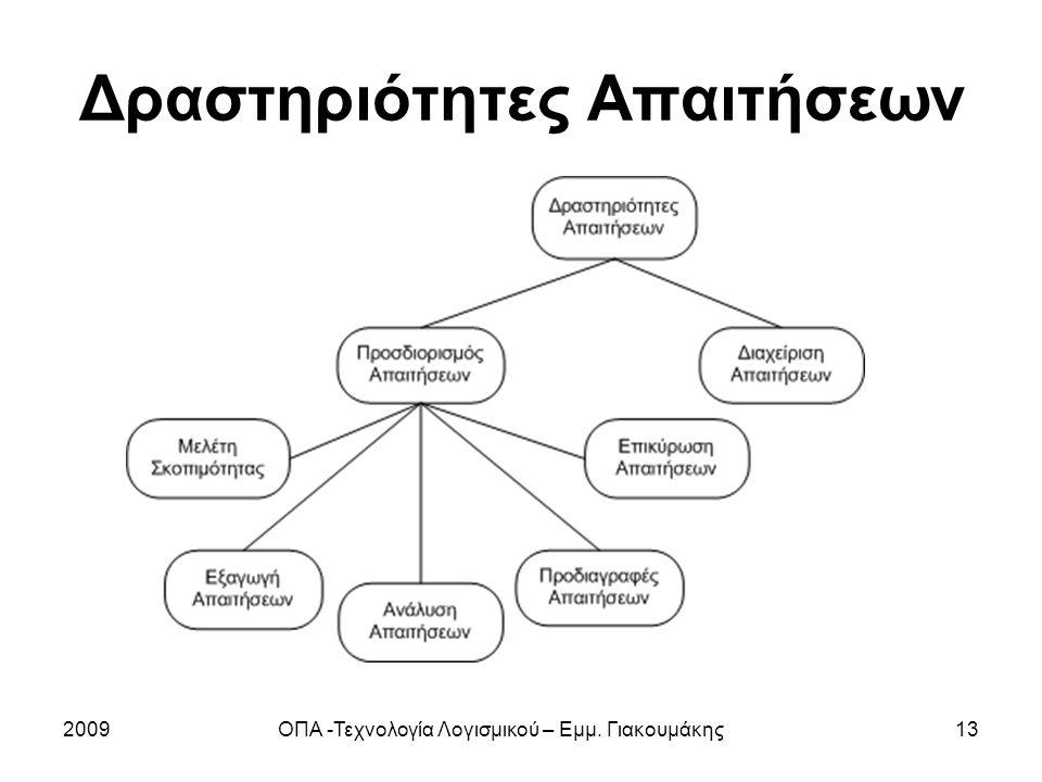 2009ΟΠΑ -Τεχνολογία Λογισμικού – Εμμ. Γιακουμάκης13 Δραστηριότητες Απαιτήσεων