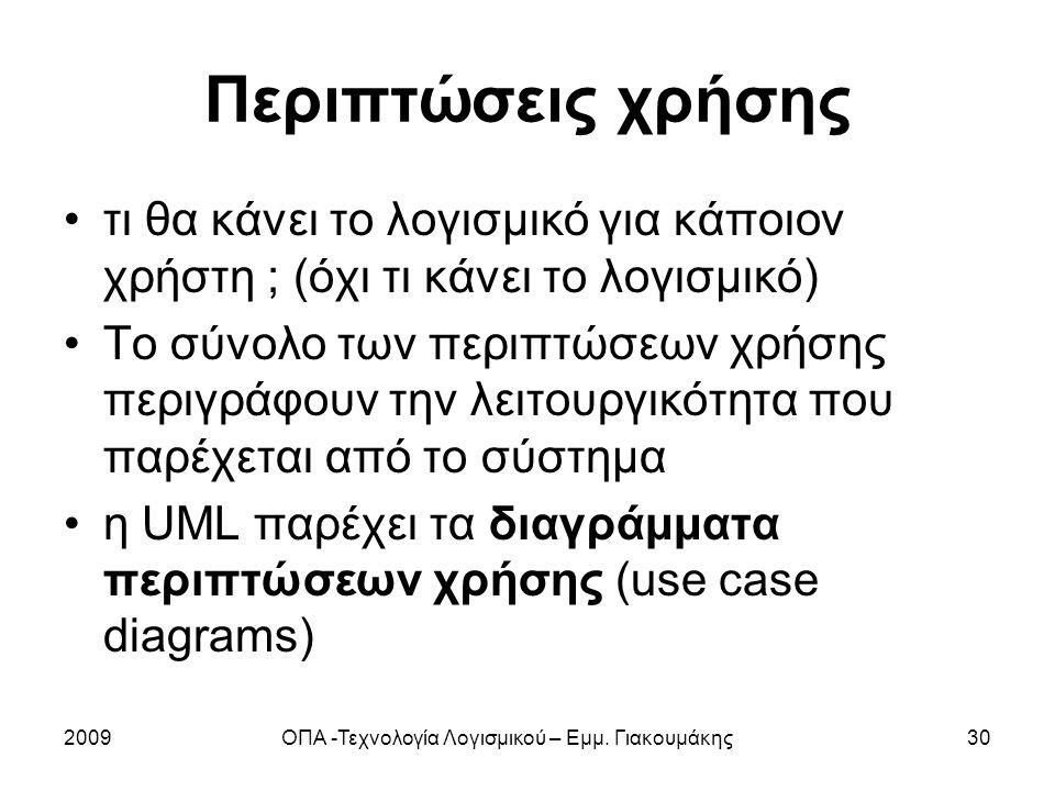 2009ΟΠΑ -Τεχνολογία Λογισμικού – Εμμ. Γιακουμάκης30 Περιπτώσεις χρήσης τι θα κάνει το λογισμικό για κάποιον χρήστη ; (όχι τι κάνει το λογισμικό) Το σύ