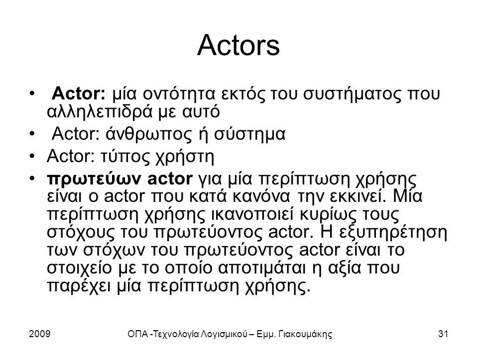 2009ΟΠΑ -Τεχνολογία Λογισμικού – Εμμ. Γιακουμάκης31 Actors Actor: μία οντότητα εκτός του συστήματος που αλληλεπιδρά με αυτό Actor: άνθρωπος ή σύστημα