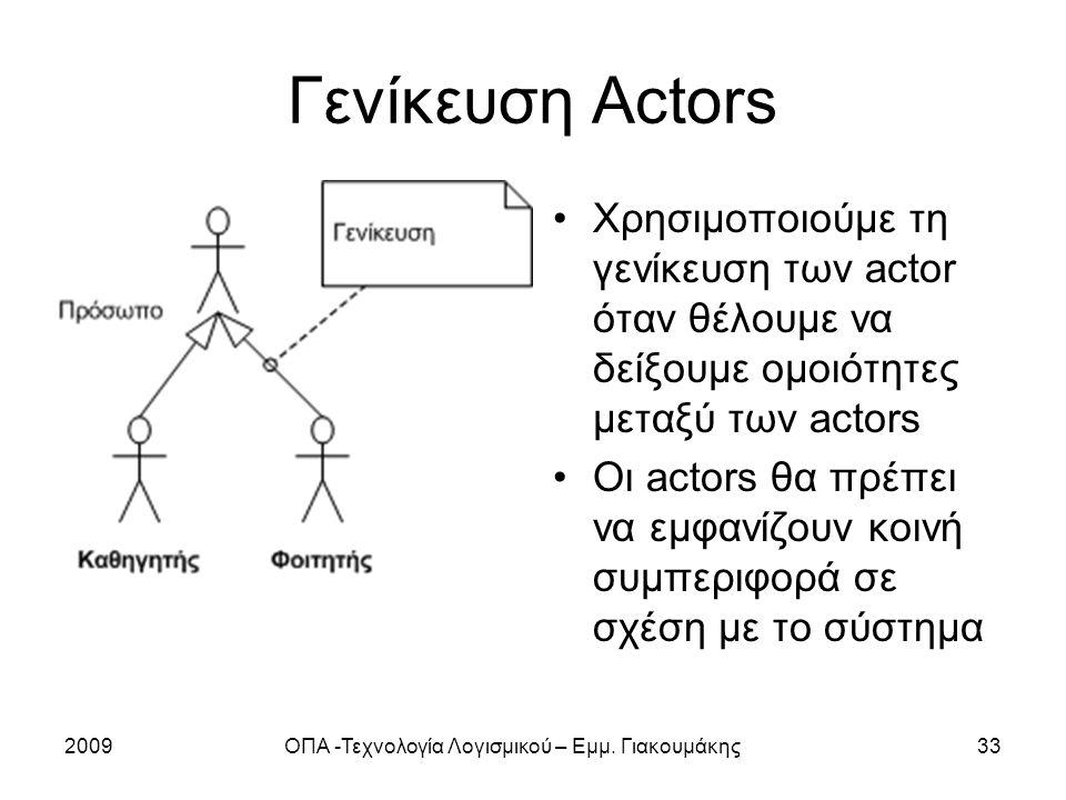 2009ΟΠΑ -Τεχνολογία Λογισμικού – Εμμ. Γιακουμάκης33 Γενίκευση Actors Χρησιμοποιούμε τη γενίκευση των actor όταν θέλουμε να δείξουμε ομοιότητες μεταξύ