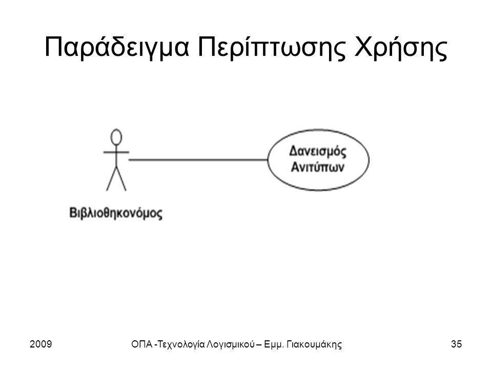 2009ΟΠΑ -Τεχνολογία Λογισμικού – Εμμ. Γιακουμάκης35 Παράδειγμα Περίπτωσης Χρήσης