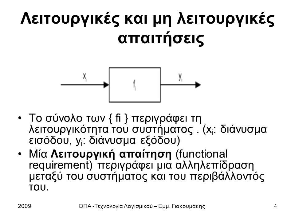 2009ΟΠΑ -Τεχνολογία Λογισμικού – Εμμ. Γιακουμάκης4 Λειτουργικές και μη λειτουργικές απαιτήσεις Το σύνολο των { fi } περιγράφει τη λειτουργικότητα του
