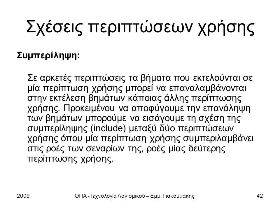 2009ΟΠΑ -Τεχνολογία Λογισμικού – Εμμ. Γιακουμάκης42 Σχέσεις περιπτώσεων χρήσης Συμπερίληψη: Σε αρκετές περιπτώσεις τα βήματα που εκτελούνται σε μία πε