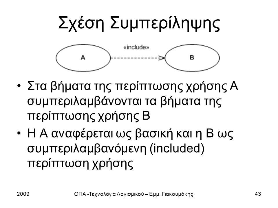 2009ΟΠΑ -Τεχνολογία Λογισμικού – Εμμ. Γιακουμάκης43 Σχέση Συμπερίληψης Στα βήματα της περίπτωσης χρήσης Α συμπεριλαμβάνονται τα βήματα της περίπτωσης
