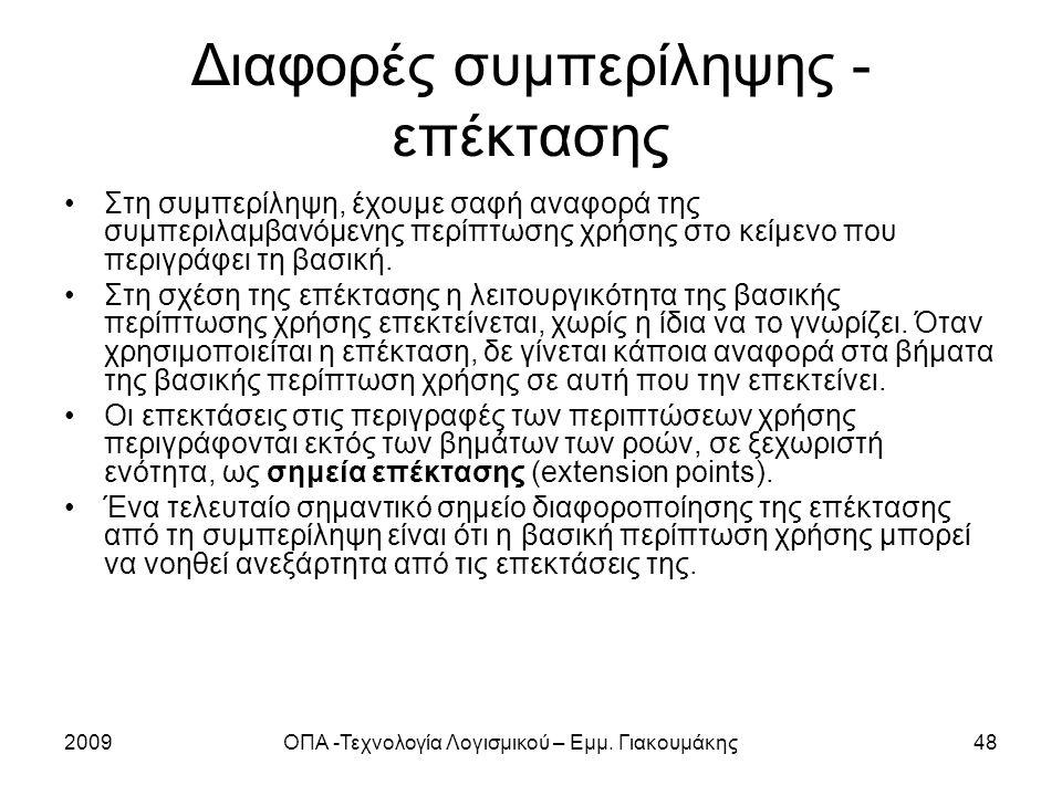 2009ΟΠΑ -Τεχνολογία Λογισμικού – Εμμ. Γιακουμάκης48 Διαφορές συμπερίληψης - επέκτασης Στη συμπερίληψη, έχουμε σαφή αναφορά της συμπεριλαμβανόμενης περ