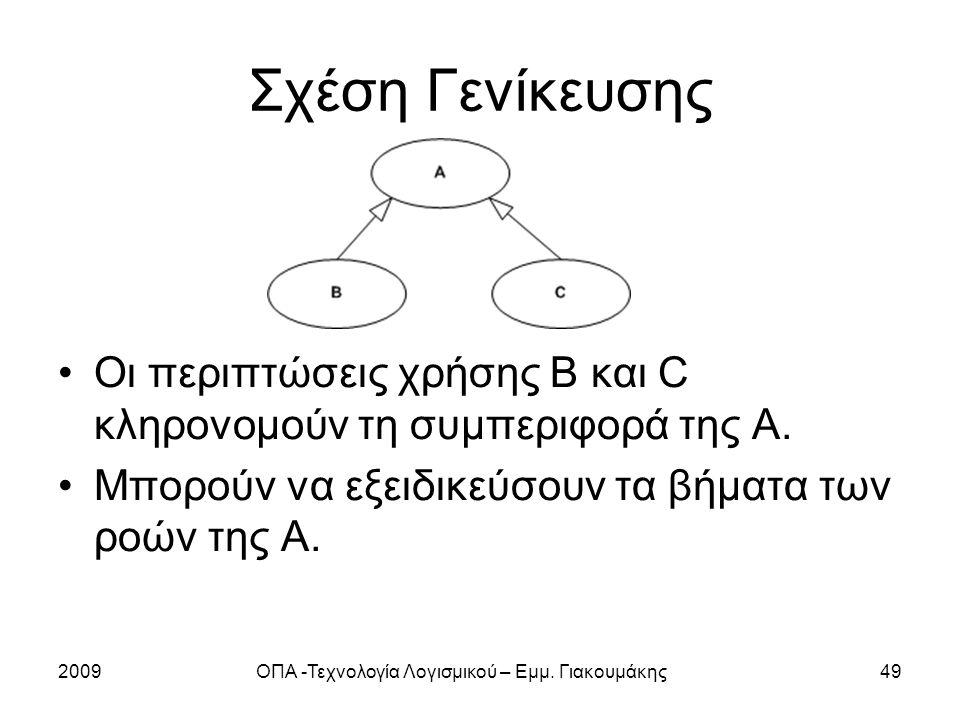 2009ΟΠΑ -Τεχνολογία Λογισμικού – Εμμ. Γιακουμάκης49 Σχέση Γενίκευσης Οι περιπτώσεις χρήσης B και C κληρονομούν τη συμπεριφορά της Α. Μπορούν να εξειδι