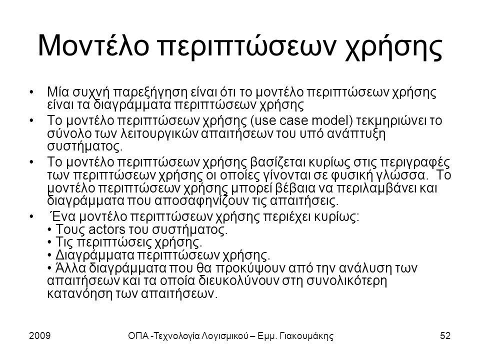 2009ΟΠΑ -Τεχνολογία Λογισμικού – Εμμ. Γιακουμάκης52 Μοντέλο περιπτώσεων χρήσης Μία συχνή παρεξήγηση είναι ότι το μοντέλο περιπτώσεων χρήσης είναι τα δ