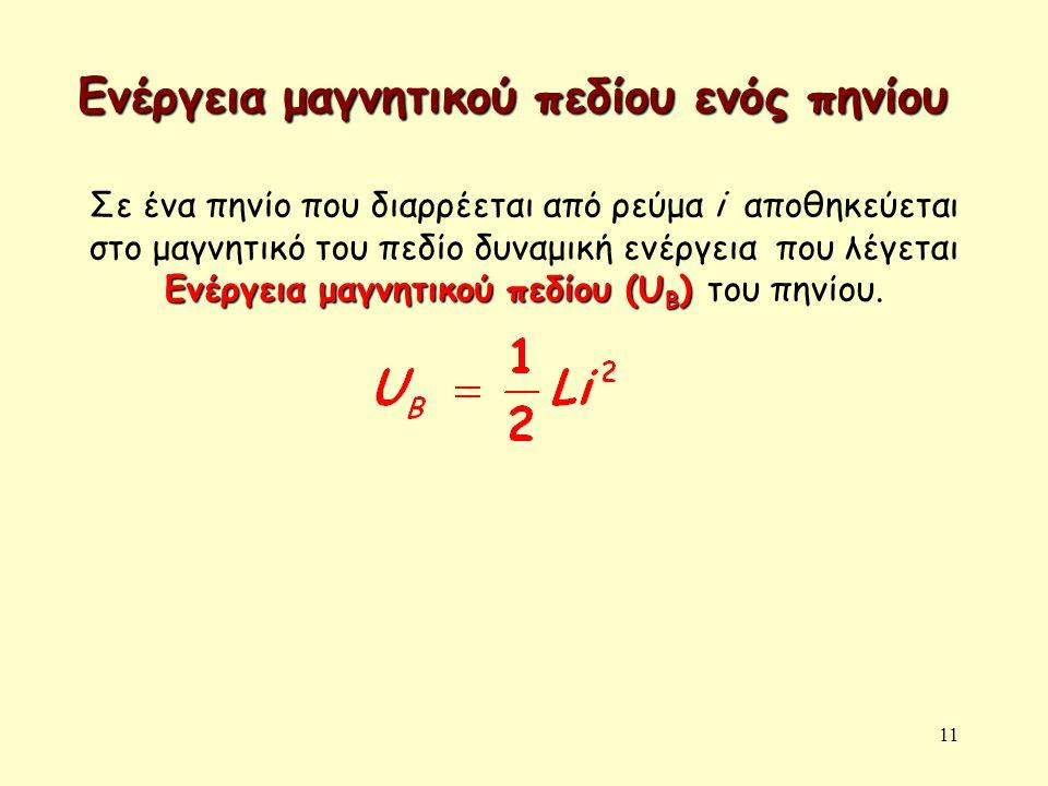 11 Ενέργεια μαγνητικού πεδίου ενός πηνίου Ενέργεια μαγνητικού πεδίου (U B ) Σε ένα πηνίο που διαρρέεται από ρεύμα i αποθηκεύεται στο μαγνητικό του πεδ