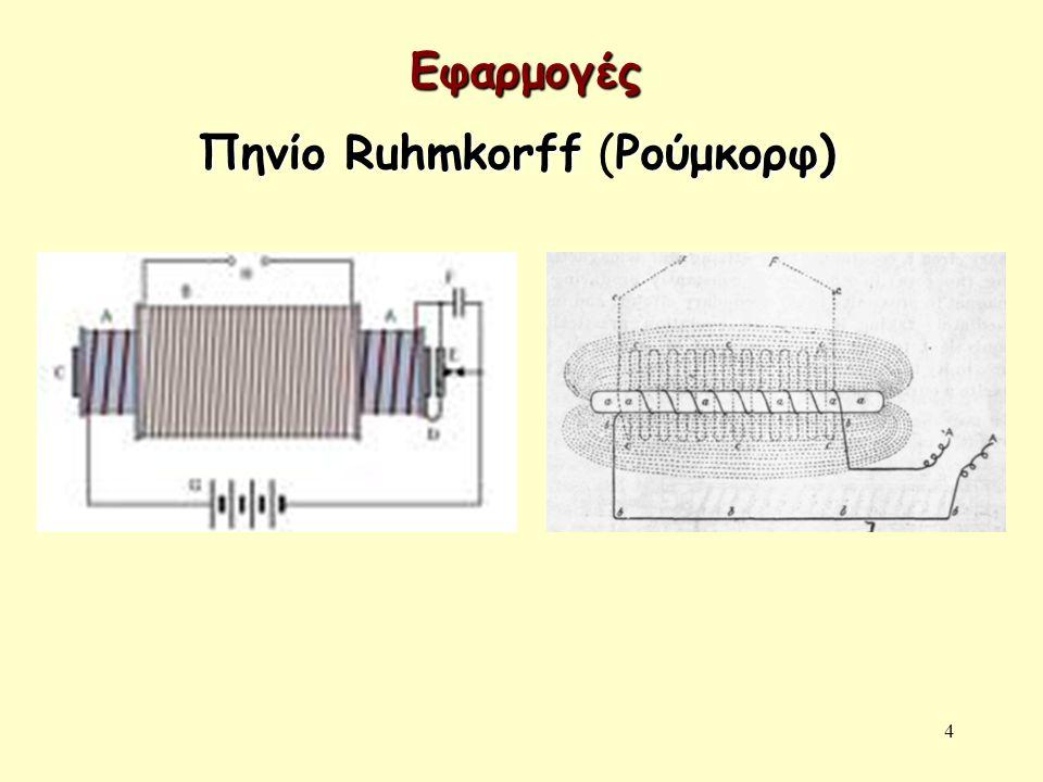 4 Πηνίο RuhmkοrffΡούμκορφ) Πηνίο Ruhmkοrff (Ρούμκορφ) Εφαρμογές