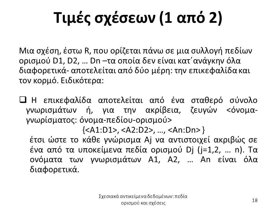 Τιμές σχέσεων (1 από 2) Μια σχέση, έστω R, που ορίζεται πάνω σε μια συλλογή πεδίων ορισμού D1, D2, … Dn –τα οποία δεν είναι κατ΄ανάγκην όλα διαφορετικά- αποτελείται από δύο μέρη: την επικεφαλίδα και τον κορμό.
