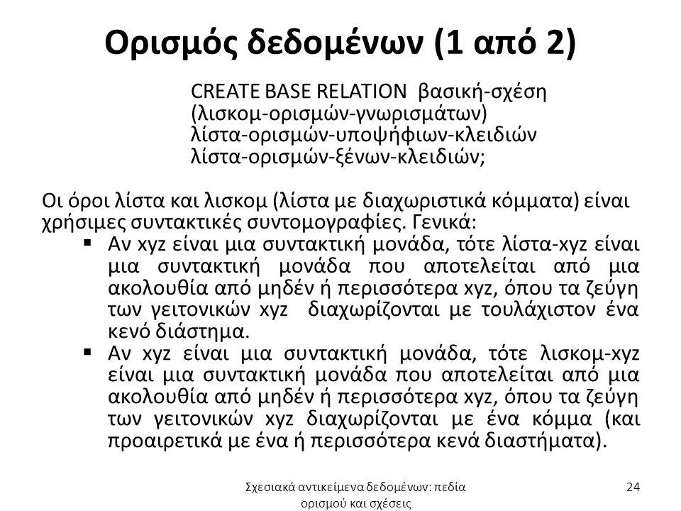 Ορισμός δεδομένων (1 από 2) CREATE BASE RELATION βασική-σχέση (λισκομ-ορισμών-γνωρισμάτων) λίστα-ορισμών-υποψήφιων-κλειδιών λίστα-ορισμών-ξένων-κλειδιών; Οι όροι λίστα και λισκομ (λίστα με διαχωριστικά κόμματα) είναι χρήσιμες συντακτικές συντομογραφίες.