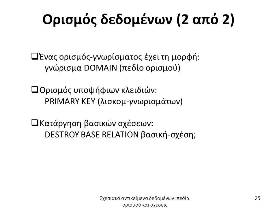 Ορισμός δεδομένων (2 από 2)  Ένας ορισμός-γνωρίσματος έχει τη μορφή: γνώρισμα DOMAIN (πεδίο ορισμού)  Ορισμός υποψήφιων κλειδιών: PRIMARY KEY (λισκομ-γνωρισμάτων)  Κατάργηση βασικών σχέσεων: DESTROY BASE RELATION βασική-σχέση; Σχεσιακά αντικείμενα δεδομένων: πεδία ορισμού και σχέσεις 25