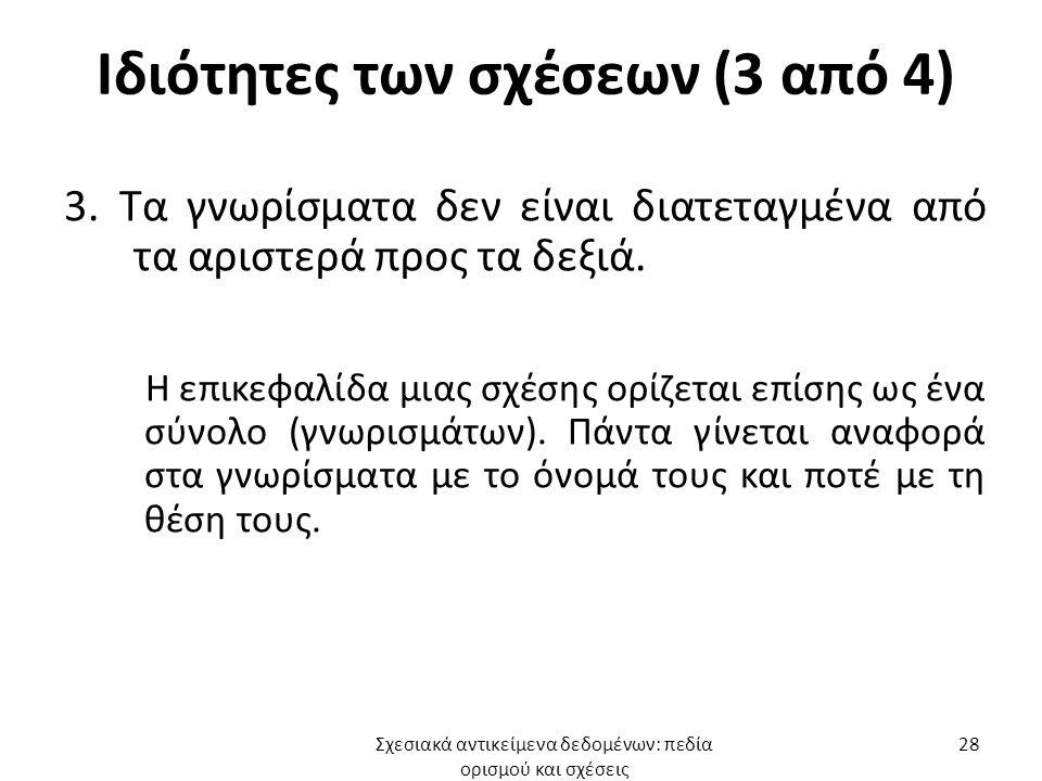 Ιδιότητες των σχέσεων (3 από 4) 3.