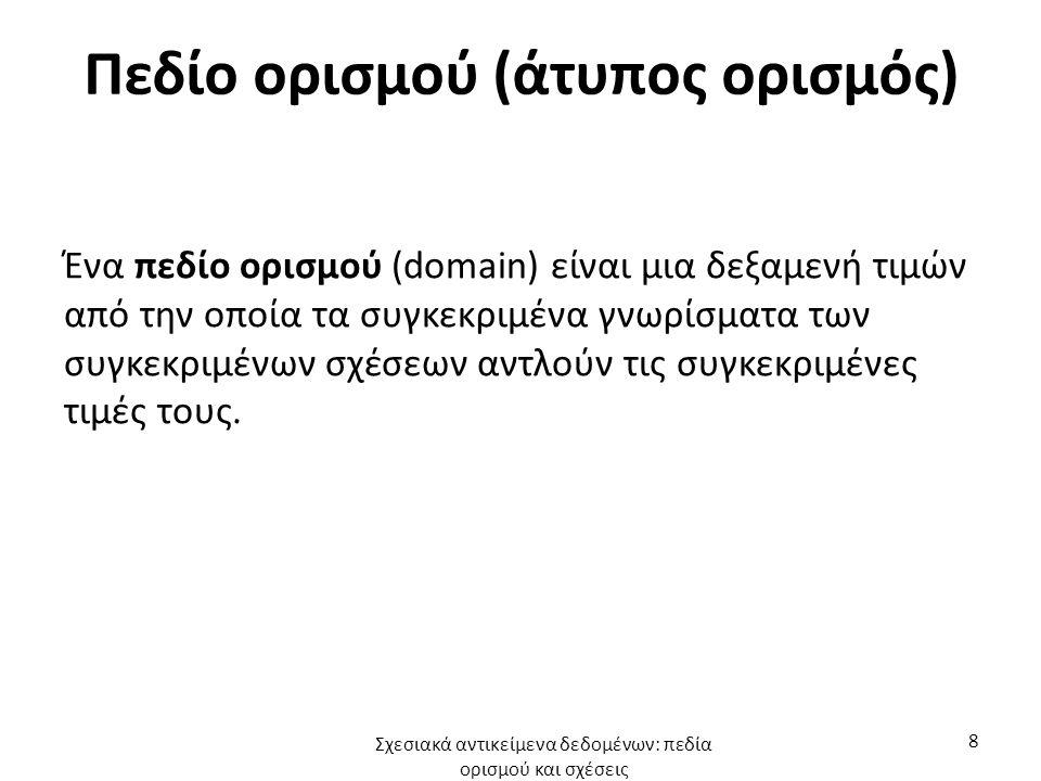 Πεδίο ορισμού (άτυπος ορισμός) Ένα πεδίο ορισμού (domain) είναι μια δεξαμενή τιμών από την οποία τα συγκεκριμένα γνωρίσματα των συγκεκριμένων σχέσεων αντλούν τις συγκεκριμένες τιμές τους.