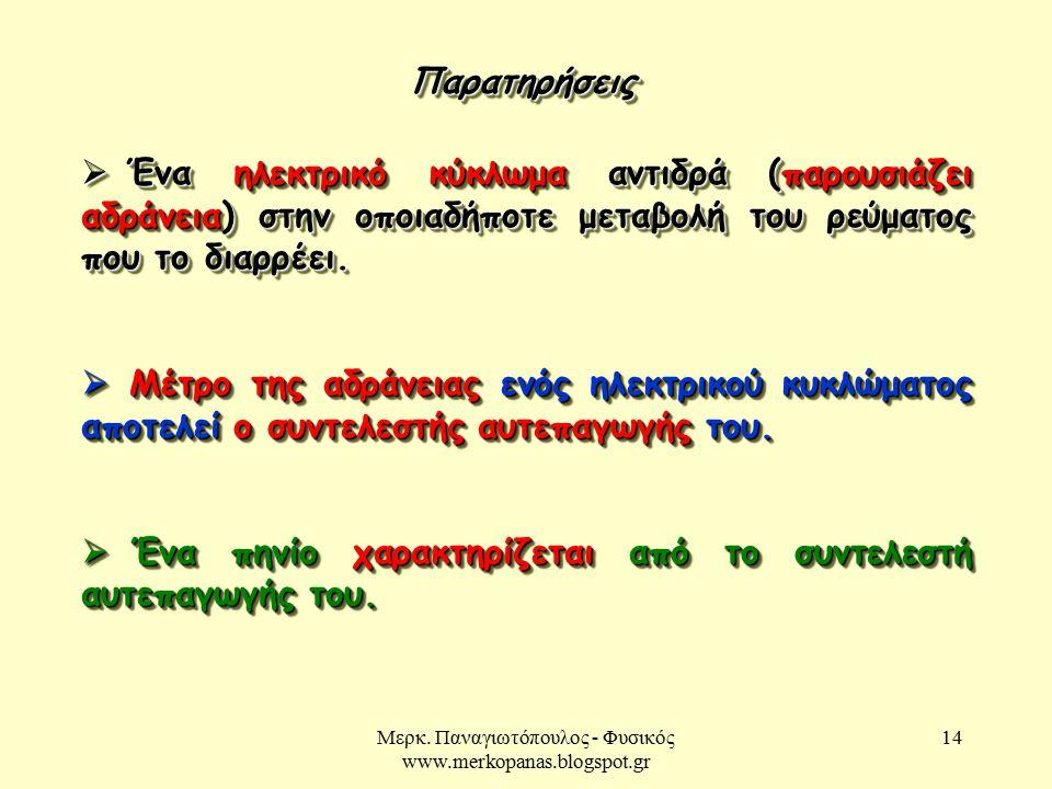Μερκ. Παναγιωτόπουλος - Φυσικός www.merkopanas.blogspot.gr 14 ΠαρατηρήσειςΠαρατηρήσεις  Ένα ηλεκτρικό κύκλωμα αντιδρά (παρουσιάζει αδράνεια) στην οπο