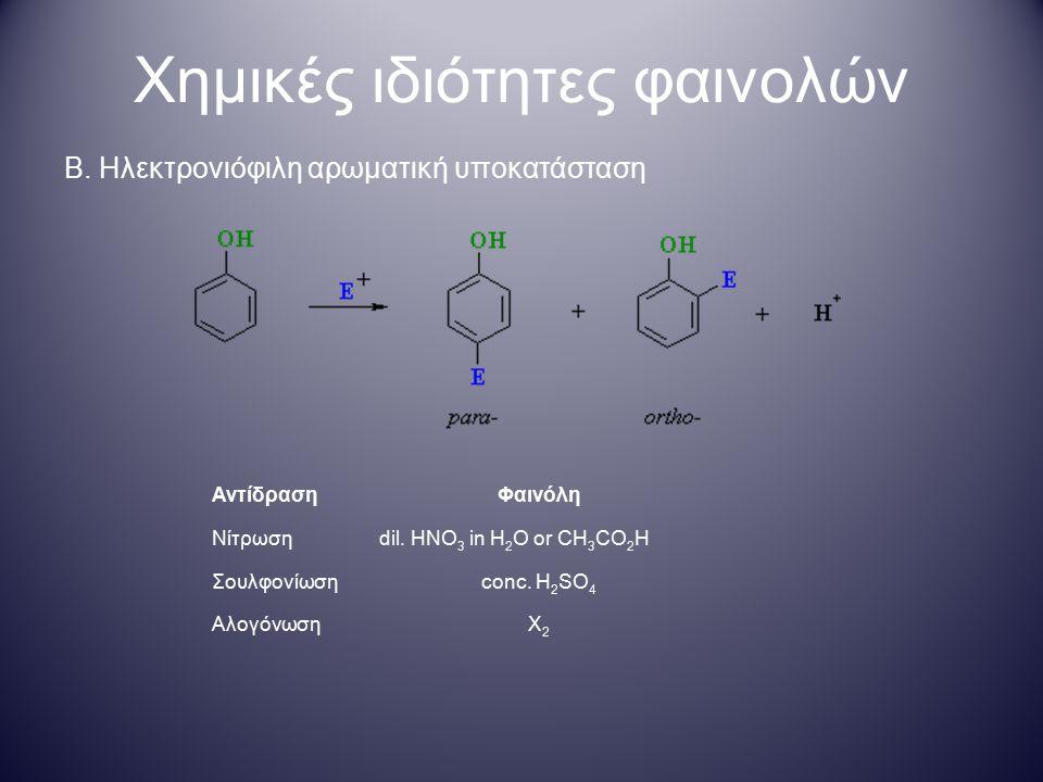 Χημικές ιδιότητες φαινολών Β. Ηλεκτρονιόφιλη αρωματική υποκατάσταση ΑντίδρασηΦαινόλη Νίτρωσηdil. HNO 3 in H 2 O or CH 3 CO 2 H Σουλφονίωσηconc. H 2 SO